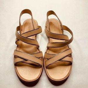 J CREW Sandals Beige Black Trim Elastic Ankle 8